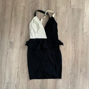 Black&White Peplum Dress